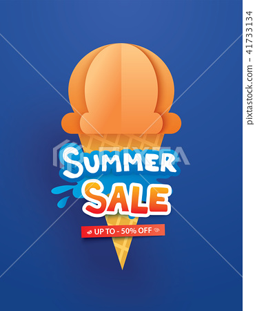 Summer sale poster with ice cream on background. 41733134