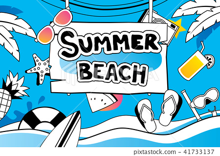 Summer doodle symbol design for beach party  41733137
