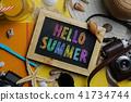 Colorful Hello Summer Text on Blackboard 41734744