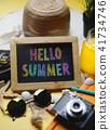 Colorful Hello Summer Text on Blackboard 41734746
