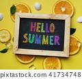 Colorful Hello Summer Text on Blackboard Orange 41734748