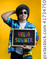 Asian Man Holding Colorful Hello Summer Text 41734750