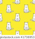 Cat Seamless Pattern vector tile wallpaper yellow 41736953