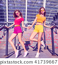 Girl Having Fun on Urban stone steps. Outdoor. 41739667