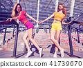 Girl Having Fun on Urban stone steps. Outdoor. 41739670