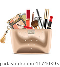 Vector Golden Cosmetic Bag with Cosmetics 41740395