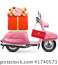 Vector Pink Scooter with Gift 41740573