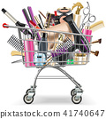 Vector Supermarket Cart with Professional Cosmetic 41740647