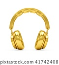 3D Rendering Golden headphones isolated on white 41742408