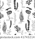Seamless pattern with corals, seaweeds 41743214