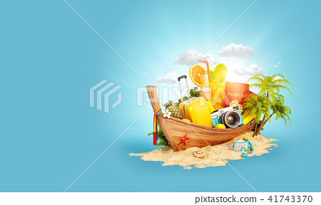 Beautiful Thai boat with suitcase 41743370