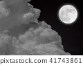 Full moon  over cloudscape with wood background. 41743861
