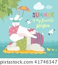 Cute polar bears relaxing 41746347