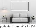 mock up poster frame in interior room , 3D render 41747351