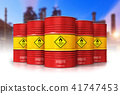 Group of red oil drums in front of refinery plant 41747453