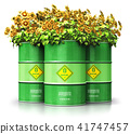 Biofuel drums with sunflowers isolated on white 41747457