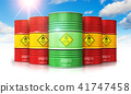 Biofuel drum in front of red oil or gas barrels 41747458