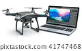 Quadcopter drone and laptop with video software 41747468