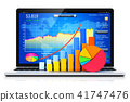 Laptop or notebook with bar graph and pie chart 41747476