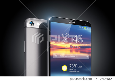 Modern touchscreen smartphone on black background 41747482