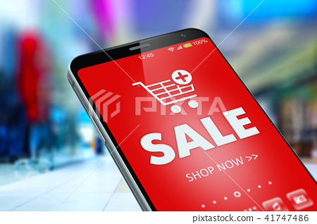 Sale and discount online shopping on smartphone 41747486
