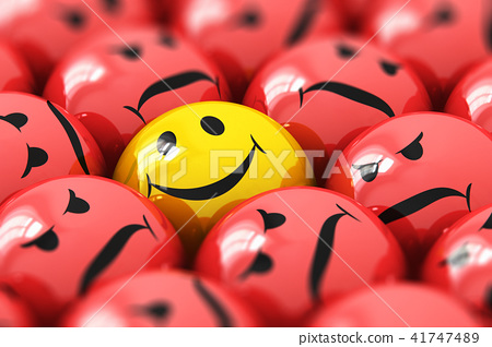 Single happy yellow smiley among red angry ones 41747489