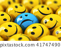 Single sad blue smiley among happy yellow ones 41747490