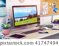Desktop computer in modern office home workspace 41747494