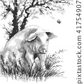 Pig and Butterfly under Flowering Tree 41754907