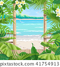 Tropical Background with Terrace on Seaside. 41754913