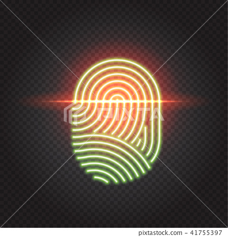 Touch ID neon icon, fingerprint scanning identification system 41755397