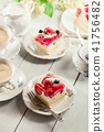 Cheesecake with strawberries, blueberry and jelly 41756482