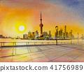 Beautiful shanghai, in China. Watercolor painting 41756989