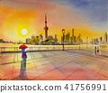 Beautiful shanghai, in China. Watercolor painting 41756991