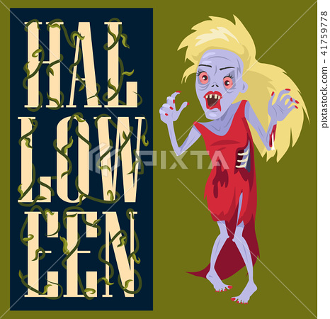 Halloween Creepy Poster on Vector Illustration 41759778