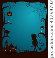 Halloween Theme Scary Poster Vector Illustration 41759792