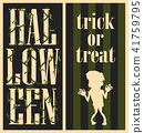 Halloween Inscription with Plants, Trick or Treat 41759795