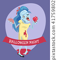 Halloween Night Lady Zombie Vector Illustration 41759802