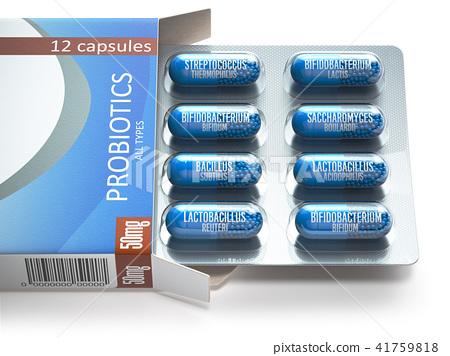 Probiotics. Blister box with all  probiotics 41759818