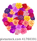 A lot of lovely colorful rosebuds arranged in round shape on white 41760391