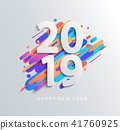 New Year 2019 design card on modern background. 41760925