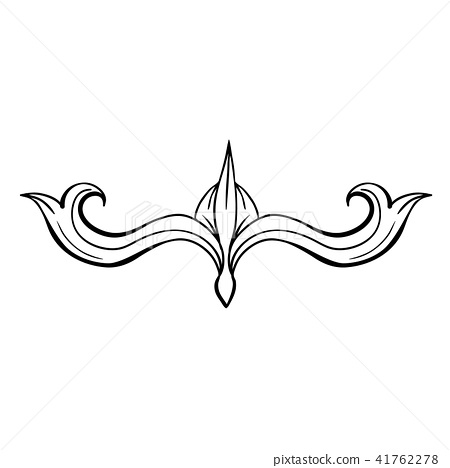 Black Isolated Hand Drawn Floral Greek Decoration 41762278