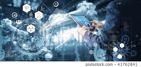 Robotics engineer using tablet app control robot  41762841