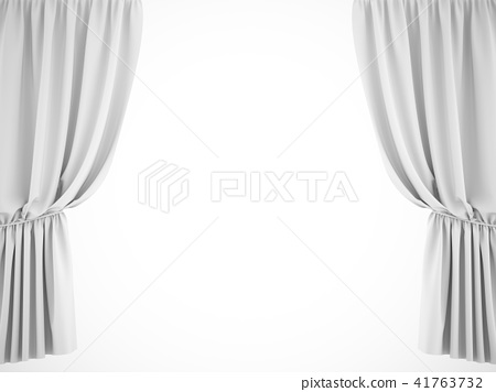 3D rendering white stage curtain on white 41763732