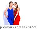 models posing in studio in bright overalls 41764771