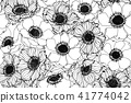 Seamless Anemone flower pattern background.  41774042