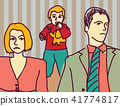 Unhappy family quarrel parents divorce couple sad child 41774817