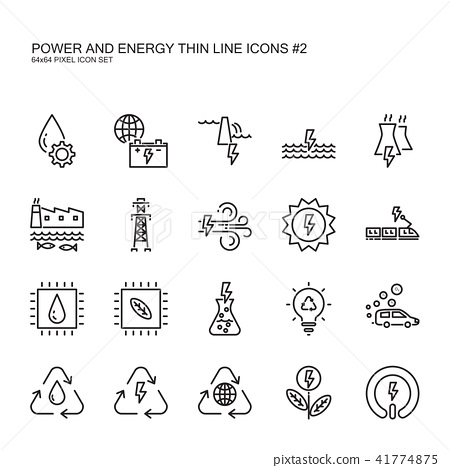 Clean power and green energy thin line icons set 2 41774875