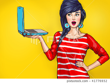 Surprised woman with laptop in the hand in comic s 41776932