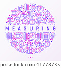 Measuring concept in circle with thin line icons 41778735
